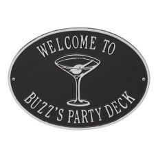 Personalized Martini Plaque, Black / Silver