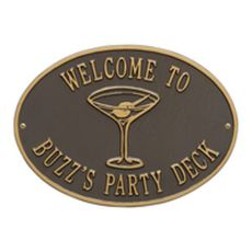 Personalized Martini Plaque, Bronze / Gold