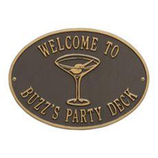 Personalized Martini Plaque, Bronze / Gold