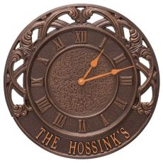 "Chateau 16"" Personalized Indoor Outdoor Wall Clock, Antique Copper"