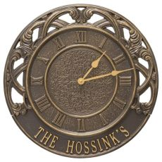 "Chateau 16"" Personalized Indoor Outdoor Wall Clock, French Bronze"