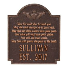 Claddagh Poem Plaque, Antique Copper