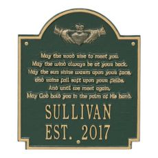 Claddagh Poem Plaque, Green Gold