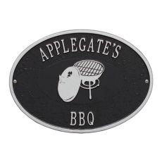Personalized Charcoal Grill Plaque, Black / Silver