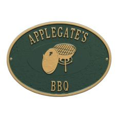 Personalized Charcoal Grill Plaque, Green / Gold