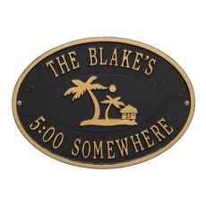 Personalized Island Time Palm Plaque, Black / Gold