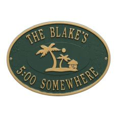 Personalized Island Time Palm Plaque, Green / Gold