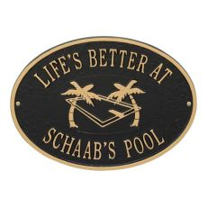 Personalized Swimming Pool Party Plaque, Black / Gold