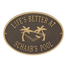 Personalized Swimming Pool Party Plaque, Bronze / Gold