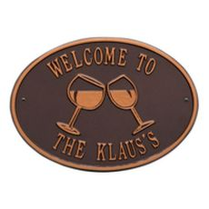 Personalized Wine Plaque, Antique Copper