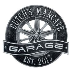 Racing Wheel Garage Plaque, Black/Silver, Black/Silver