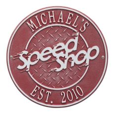 Speed Shop Plaque, Red/Silver, Red/Silver
