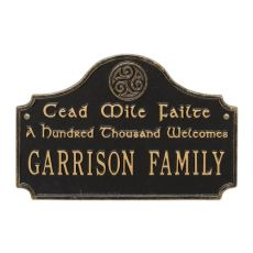 Cead Mile Failte Plaque, Black Gold