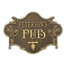 Custom Hops & Barley Beer Pub Plaque , Weathered Antique / Brass