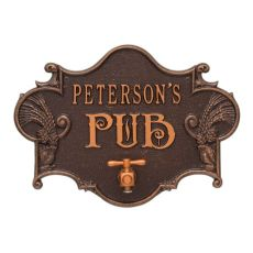 Personalized Hops & Barley Beer Pub Plaque , Antique / Cooper