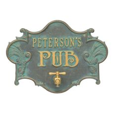 Personalized Hops & Barley Beer Pub Plaque , Bronze /Verdigris