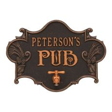 Custom Hops & Barley Beer Pub Plaque , Antique Copper