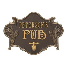 Personalized Hops & Barley Beer Pub Plaque , Dr. Bronze/ Gold