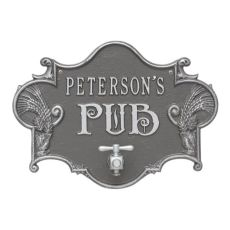 Custom Hops & Barley Beer Pub Plaque , Pewter / Silver