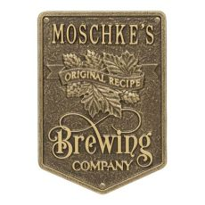 Personalized Original Recipe Brewing Company Beer Plaque, Bronze Verdigris