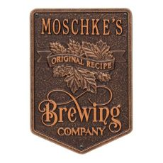 Custom Original Recipe Brewing Company Beer Plaque, Oil Rubbed Bronze