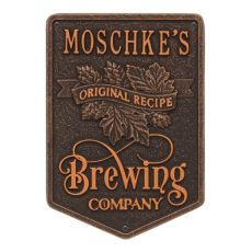 Personalized Original Recipe Brewing Company Beer Plaque, Antique Brass