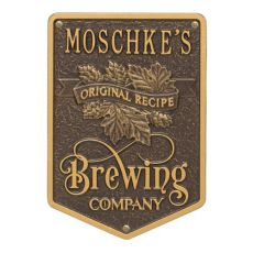 Custom Original Recipe Brewing Company Beer Plaque, Antique Copper