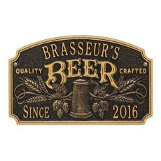 Personalized Quality Crafted Beer Arch Plaque, Dark Bronze / Gold