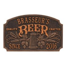 Personalized Quality Crafted Beer Arch Plaque, Antique Brass
