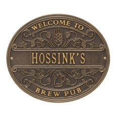 Personalized Brew Pub Welcome Plaque, Antique Copper