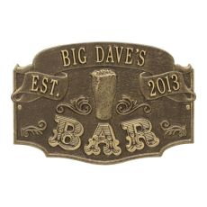Personalized Established Bar Plaque, Antique Brass