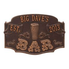 Custom Established Bar Plaque, Oil Rubbed Bronze