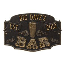 Personalized Established Bar Plaque, Black / Gold