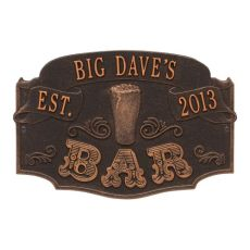 Personalized Established Bar Plaque, Oil Rubbed Bronze