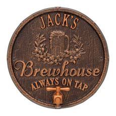 Personalized Oak Barrel Beer Pub Plaque, Oil Rubbed Bronze