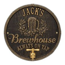 Custom Oak Barrel Beer Pub Plaque, Dark Bronze / Gold