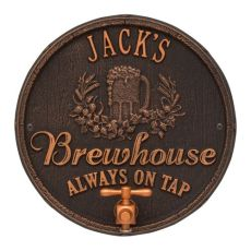 Custom Oak Barrel Beer Pub Plaque, Antique Brass