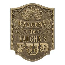Personalized Pub Welcome Plaque, Bronze Verdigris