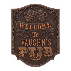 Custom Pub Welcome Plaque, Oil Rubbed Bronze