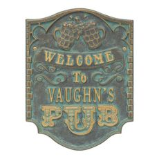 Custom Pub Welcome Plaque, Pewter / Silver