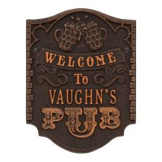 Personalized Pub Welcome Plaque, Antique Brass