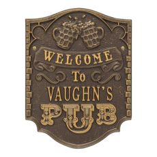 Custom Pub Welcome Plaque, Antique Copper