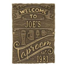 Custom Tap Room Brew Pub Plaque, Bronze Verdigris