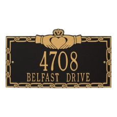 Claddagh Address Plaque, White/Black