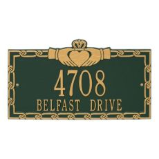 Claddagh Address Plaque, Aged Bronze