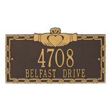 Claddagh Address Plaque, Dark Bronze Gold
