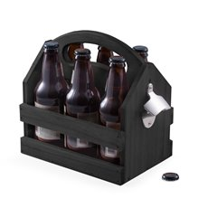 Black Solid Wood Six Pack Bottle Caddy with Ergonomic Curved Built in Handle and Bottle Opener