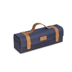 Blue Ballistic Nylon and Brown Leatherette Bottle Caddy with Secure Snap Closures, Carrying Handle
