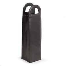 Black Leatherette Bottle Caddy with Handles
