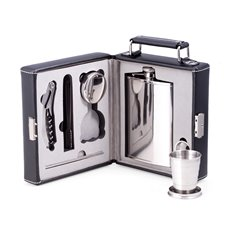 Seven Piece Stainless Steel Travel Bar Set in Black Leather Carrying Case with Locking Clasp